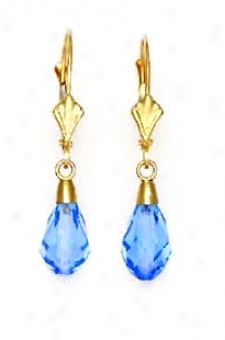 14k 9x6 Mm Briolette Light-blue-topaz Crystal Earrings
