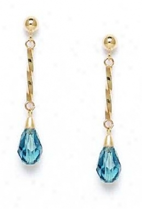 14k 9x6 Mm Briolette Light-indicolite Crystal Earrings
