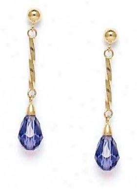 14k 9x6 Mm Brkolette Light-iridescent Crystal Earrings