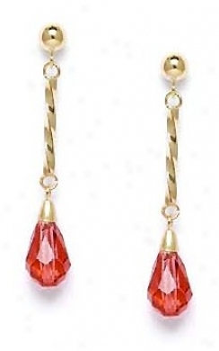 14k 9x6 Mm Briolette Padparadscha-sapphire Crystal Earrings