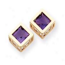 14k Amethyst 6mm Square Earrings