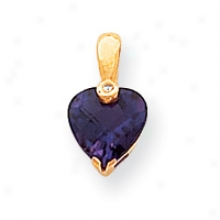 14k Amethyst And Brilliant Pendant