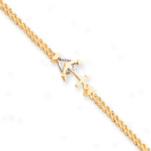14k Anchor And Rope Bracelet - 7.25 Inch