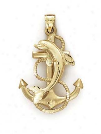 14k Anchor Dolphin Pendant