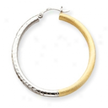 14k And Rhodium 3mm Satin And Diamond-cut Hoop Earrings