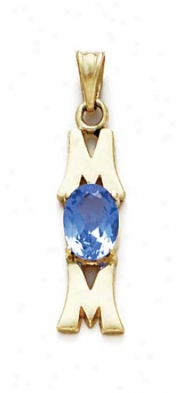 14k Aquamarine-blue Birthstone Mom Pendant 1 3/16 Inch Long