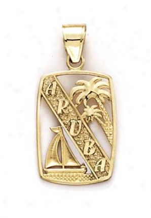 14k Aruba Palm Tree Sailboat Pendant