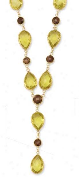 14k Bezel Pear-shaped Lariat Lemon Qiartz Necklace - 17 Inch