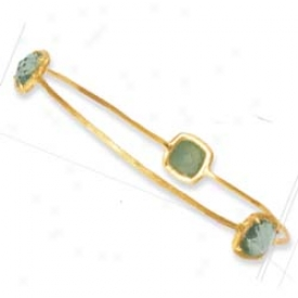 14k Bezel-set Cushion Slip-on Green Amethyst Bangle - 8 Inch