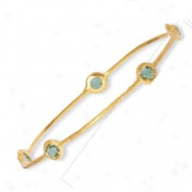 14k Bezel-set Round Slip-on Green Amethyst Bangle - 8 Inch