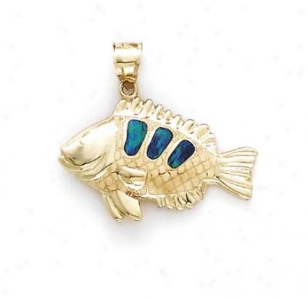 14k Blowfish Opal Inlay Pendant