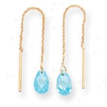 14k Blue Cz Threader Earrings