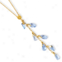 144k Cascading Blue Topaz Y Necklace - 16 Inch