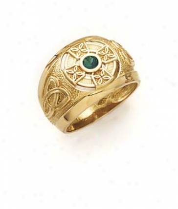 14k Celtic Cross Synthetic Emerald Mens Ring