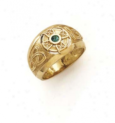 14k Celtic Cross Synthetic Emerald Ring