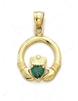 14k Claddagh Synthetic Emerald Pendant