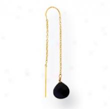 14k Created Blue Gold Stone Threader Earrings