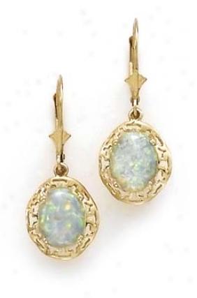 14o Created Opal Earrings