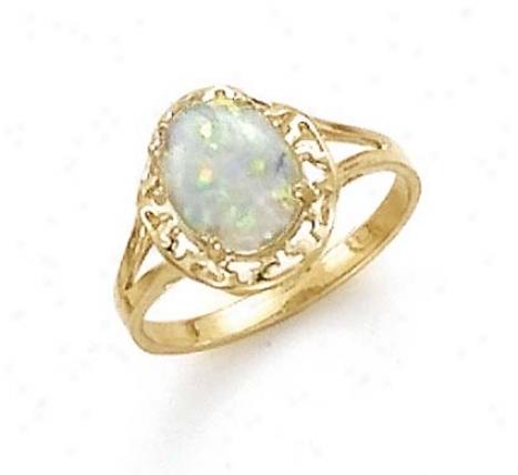 14k Created Opal Ring