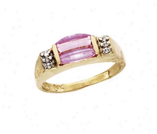 14k Created Pink Sapphire Diamond Ring