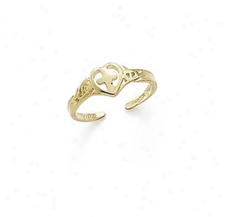 14k Cross In Heart Toe Ring