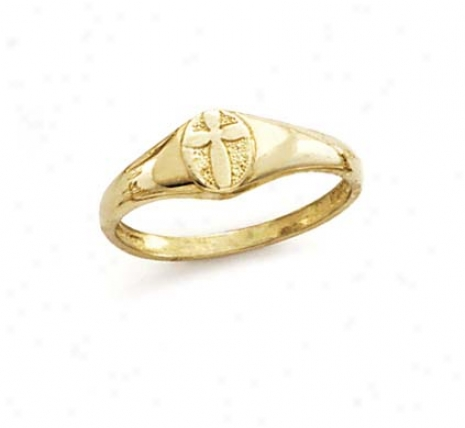 14k Cross In Oval Ring