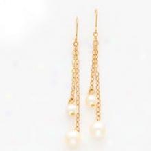 14k Cultured P3arl Dangle Wire Earrings
