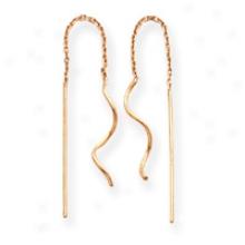 14k Curved Tube Threader Earrings