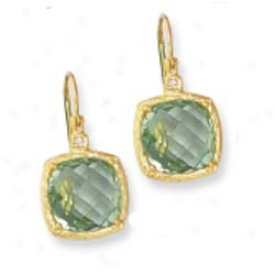 14k Cushion Cut Framed Leverback Green Amethya Earrings