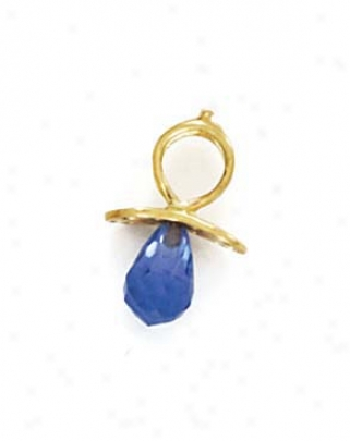 14k December Birthstone Pacifier Ear-ring 5/8 Inch Long