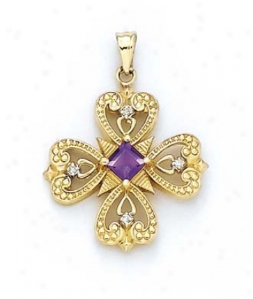 14k Diamond 5m Four-sided figure  Amethyst Pendant