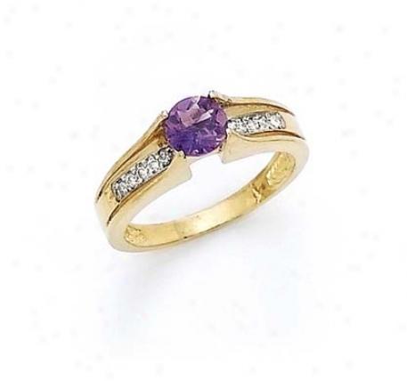14k Diamond 6mm Amethyst Ring