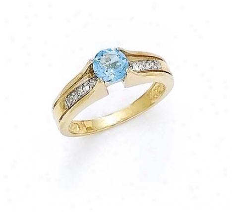 14k Diamond 6mm Blue Topaz Ring