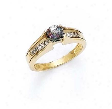14k Diamond 6mm Mystic Topaz Ring