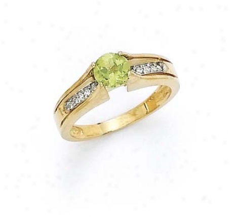 14k Diamond 6mm Peridot Ring