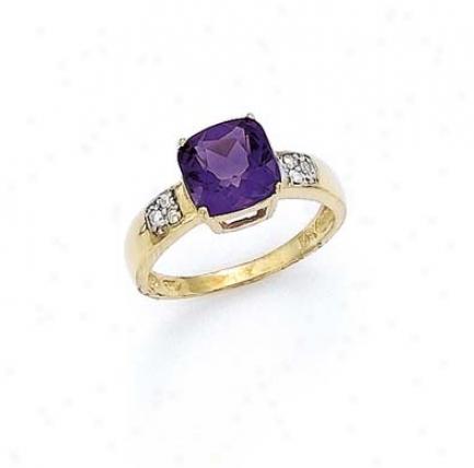14k Diamond 8mm mAethyst Ring