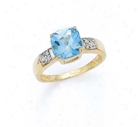14k Diamond 8mm Cushion Blue Topaz Ring