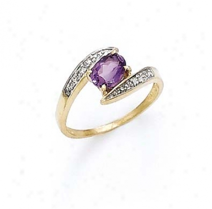 14k Diamond Amethyst Oval Ring