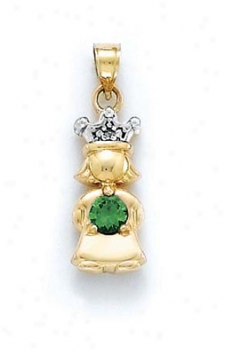 14k Diamond &ajp; Emerald-green Birthstone Ptincess Pendanr