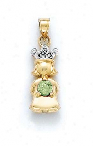 14k Diamond & Peridot-green Birthstone Princess Pendant