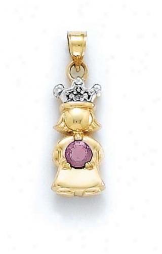 14k Diamond & Rhodolite-pink Birthstone Princess Pendant