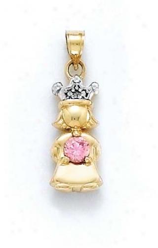 14k Diamond & Topaz-pink Bi5thstone Princess Pendant 1 Inch