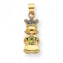 14k Brilliant And Synthetic August Birthstone Girl Pendant