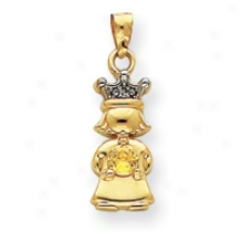 14k Diamond And Synthetic November Birthstone Girl Pendant