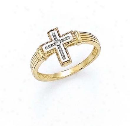 14k Diamond Cross Ring