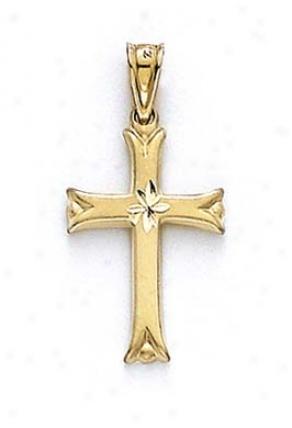 14k Diamond-cut Cross Pendant