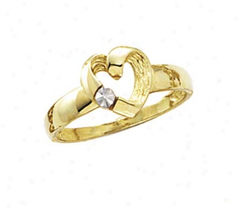 14k Diamond-cut Rhodium Heart Ring