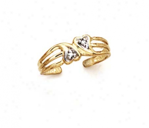 14k Diamond Double Conscience Toe Ring