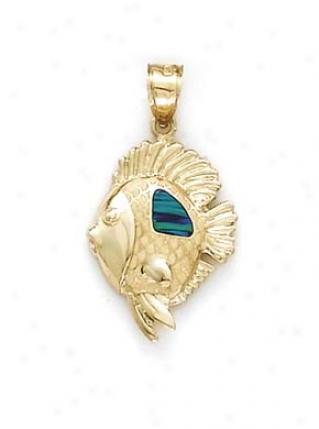 14k Diamond Rake Opal Pendant