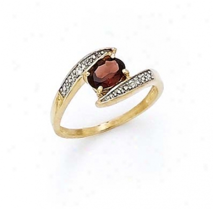 14k Diamond Garnet Oval Ring